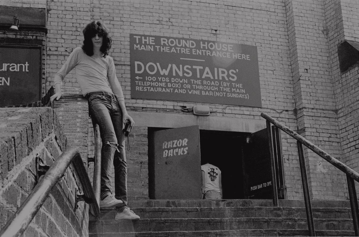 J Ramone outside Roundhouse, 1976