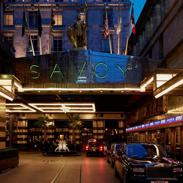 The Savoy front by night