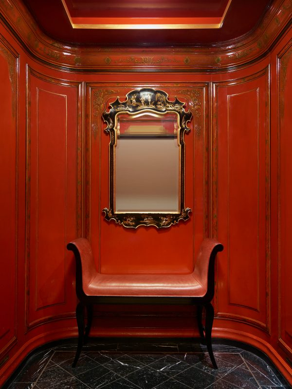 Red elevator at The Savoy