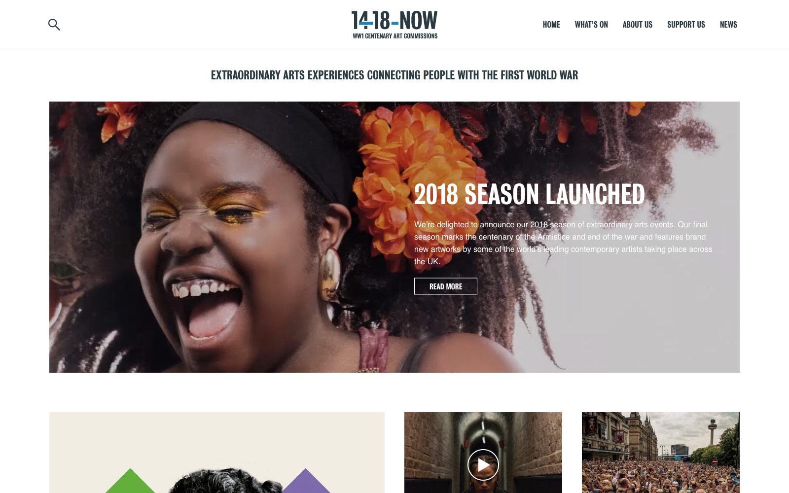 14-18 NOW website homepage