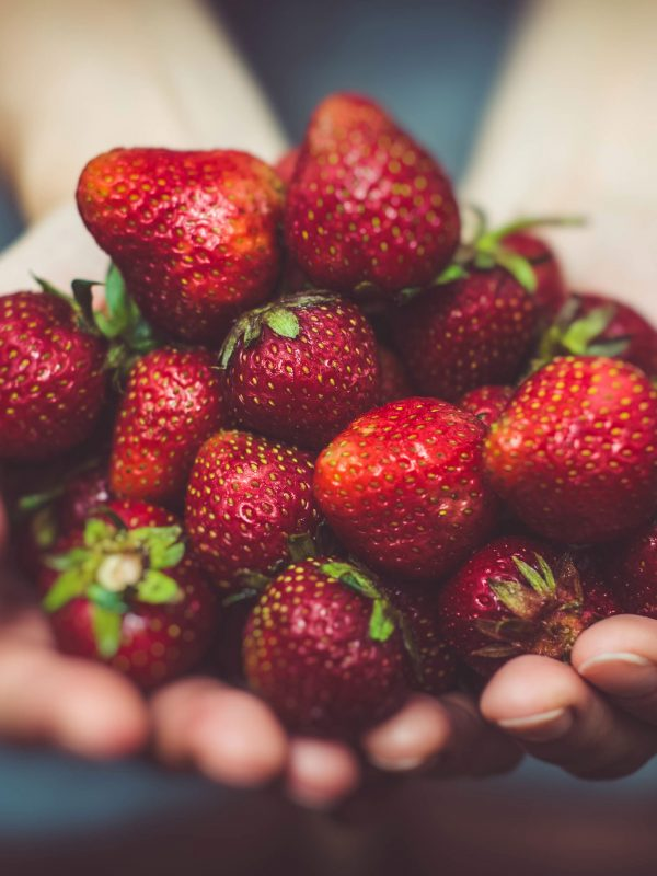 A handful of strawberries