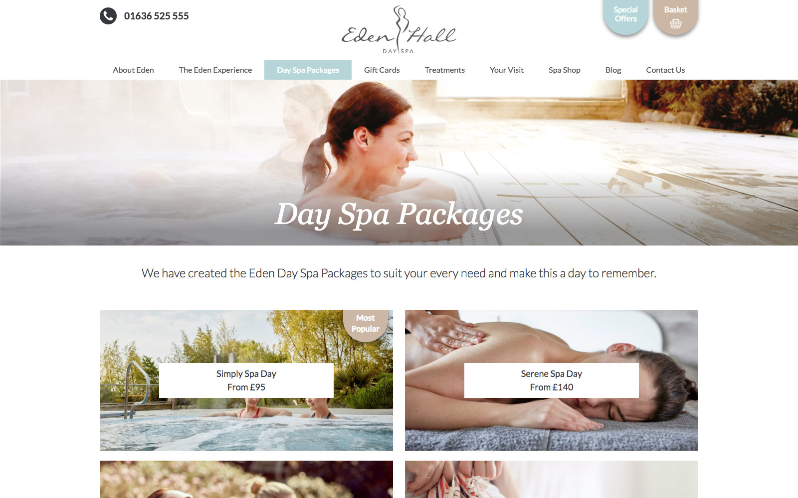Eden Hall website packages view