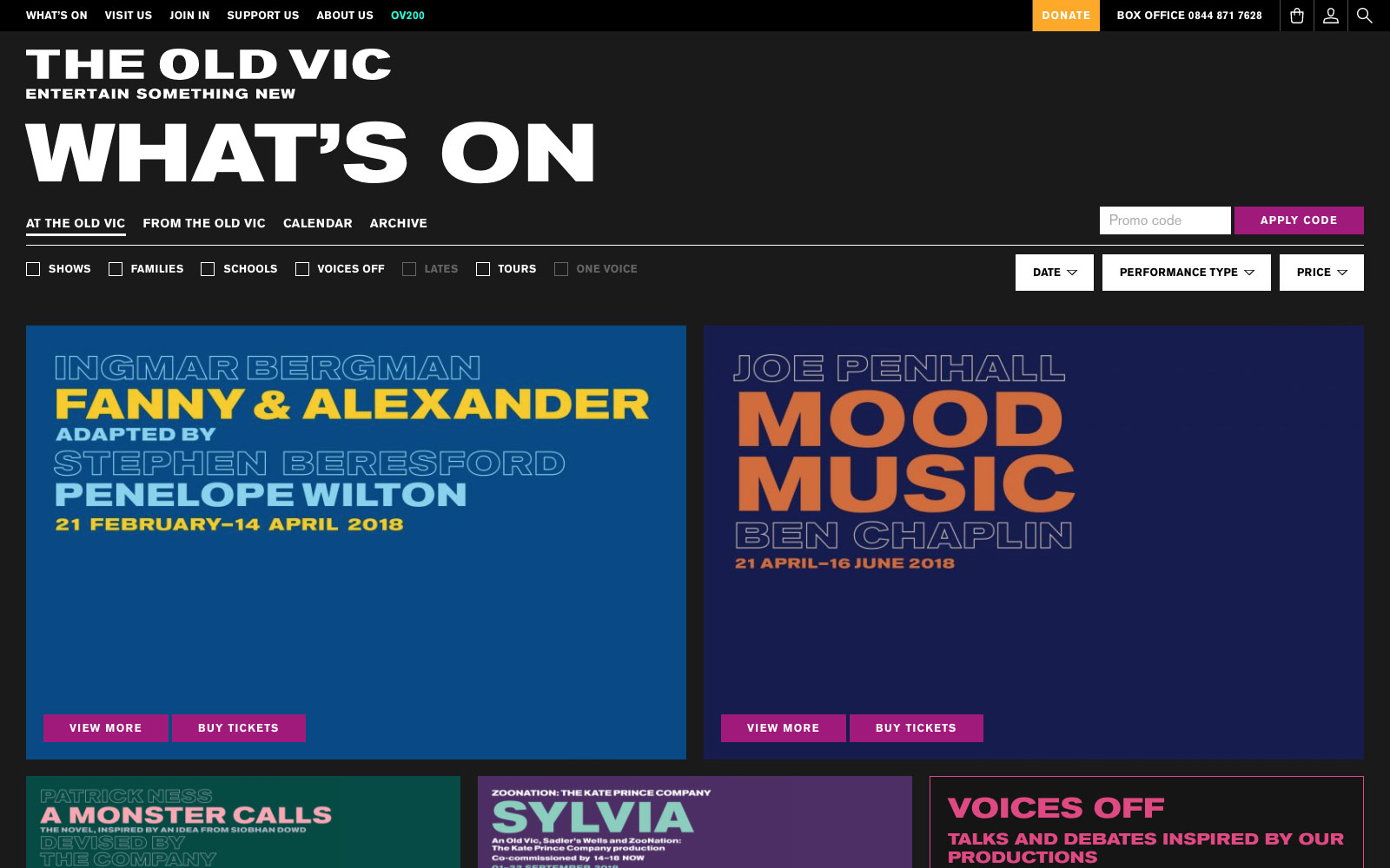The Old Vic website What's On page