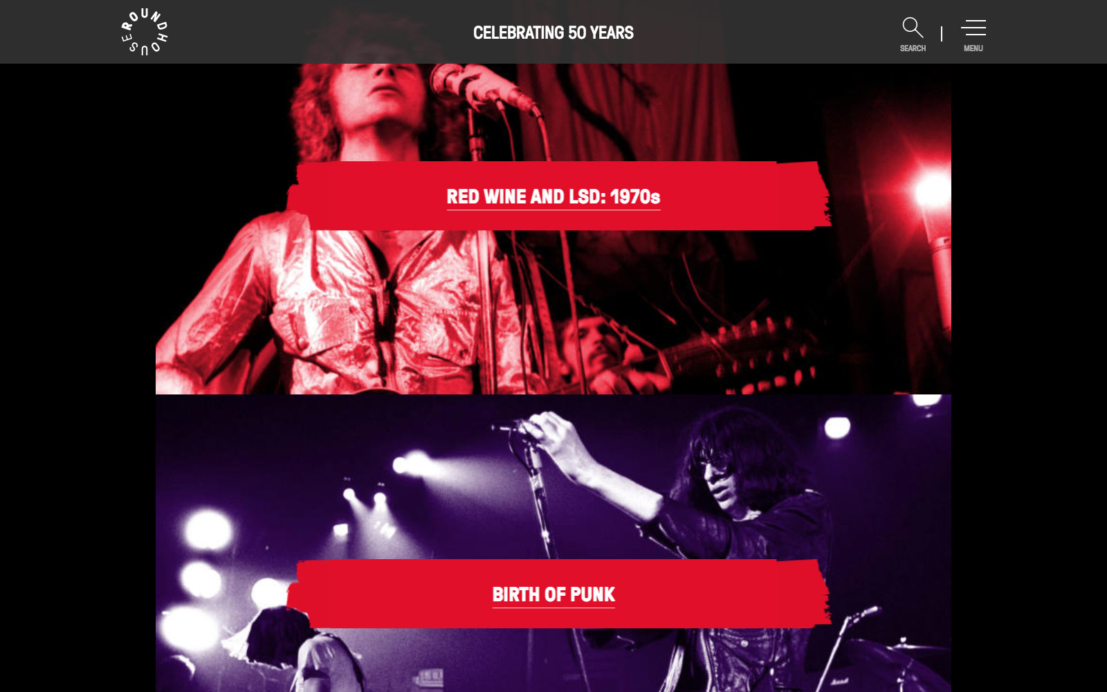 Roundhouse 50 years website homepage